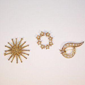Lot of 3 Gold tone vintage pins